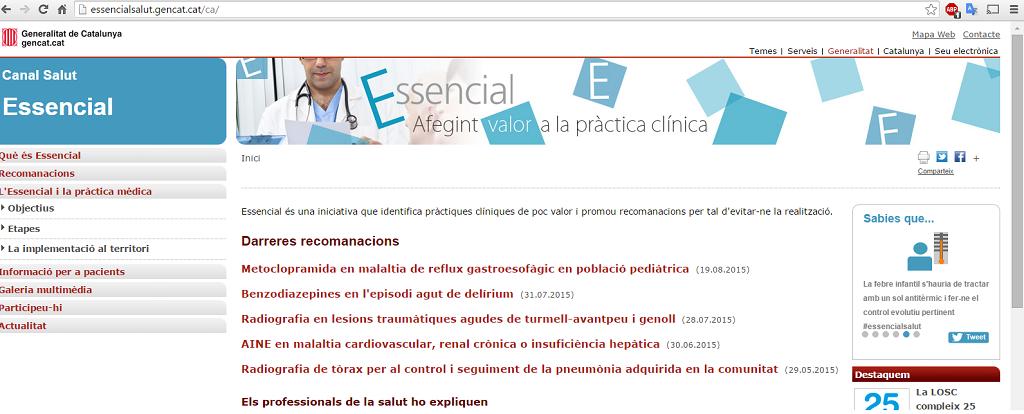 Essencial: Afegint valor a la pràctica clínica [Essencial: Adding value to the clinical practice]